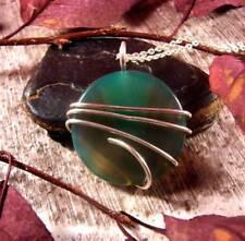 Vibrant Colorful Agate Slice Pendant Necklace Talisman Sterling Silver #27