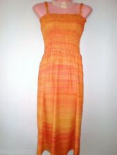 LADIES WOMENS DAY CASUAL BEACH DRESS SHIRRED ORANGE SIZE S M L 8 10 12 14 16 18