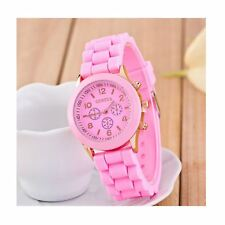 Luxury Ladies Girls Watch Pink Rose Gold Silicone Jelly Strap Free UK Warranty