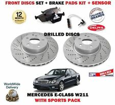 FOR MERCEDES E320 CDI + ESTATE 2002-2008 FRONT BRAKE DISCS SET + PADS KIT SENSOR