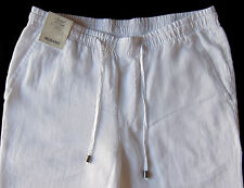 Men's MURANO White LINEN Drawstring Pants 30x30 NWT Elastic Waist StAiNs DeFeCt!