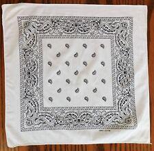 """White Paisley cotton kerchief 20"""" square bandana pocket handkerchief cs"""