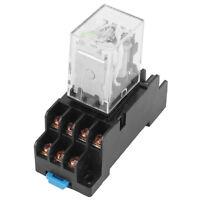 HH53P-L DC 12V Coil 14 Pins 4PDT 35mm DIN Rail Red Light Power Relay w Socket