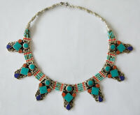 Tribal Handmade Sterling silver Necklace Turquoise Asian Ethnic  Jewelry  FB16