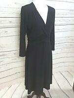 JACQUI E women classic black sheath dress stretch jersey size S career work #800