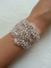 vintage style crystal and pearl bracelet bride pearl wedding bracelet jewellry