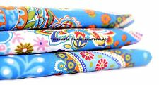 10 Yard Indian Cotton Hand Craft Natural Turquoise Paisley Cotton Printed Fabric