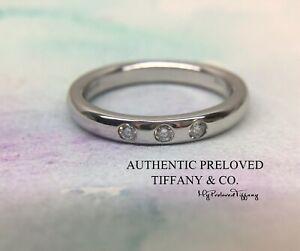 Mint Tiffany & Co Elsa Peretti 3 Diamonds Platinum Stacking Band Ring RP$1600
