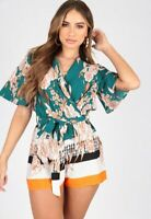Womens Ladies Border Print Playsuit With Kimono Sleeves and Self Fabric Belt