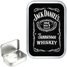 Jack Daniels. Silver Hinged Tobacco Tin, Can, Pill Tin, Small Pocket,1oz & 2oz