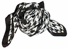 Black White Dogtooth Fine Pure Silk Square Scarf - New (Z41)