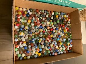 Lot of Vintage Marbles Mixed  Cats Eye Large Small Multi Color 4lbs 10 oz
