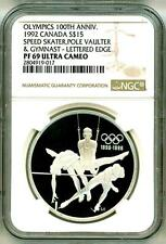 1992 S$15 Canada Olympics Skater Pole Vaulter Gymnast Lettered Edge NGC PF69 UC