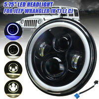 5.75'' LED Phare Feux Bleu Halo Ring Angel Eyes pour Jeep Wrangler JK TJ LJ