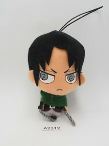 "Attack on Titan A2312 Levi Ackerman Fukuya Strap mascot 4"" Plush Toy Doll Japan"