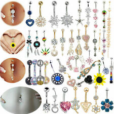 Belly Button Piercing Bars Barbell Eyebrow Navel Surgical Steel Dangle Drop Bar