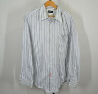 Hugo Boss 17 – 36 Long Sleeve Button Front Shirt White Blue Stripes