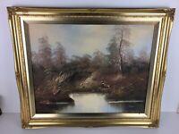 Vintage A Dakin Oil On Canvas Landscape Traditional Painting Artwork Gilt Frame