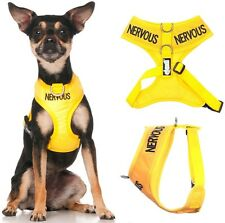 NERVOUS Yellow Non Pull Waterproof Padded Pet Dog Vest Harness or 4 6 Foot Lead