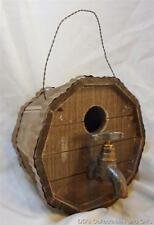 New listing Wood Barrel Birdhouse with Spigote for Entryway Perch With Cleanout Door