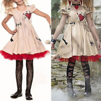 2019 Girl's Child Retro Fancy Voodoo Mini Dress Ball Halloween Cosplay Costume