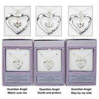DV Fashions Equilibrium Guardian Angel Heart Silver Plated Necklace