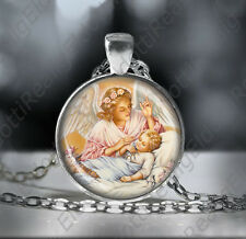 Guardian Angel Catholic Necklace. Child Protection Pendant. Christian Medal