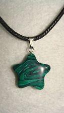 Birthstone Malachite Stone Pendant Star Leather Necklace Gemstone J471