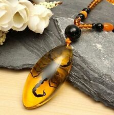 Fd5097 Artificial Insects Amber Chinese Scorpion Inclusion in Pendant Necklace