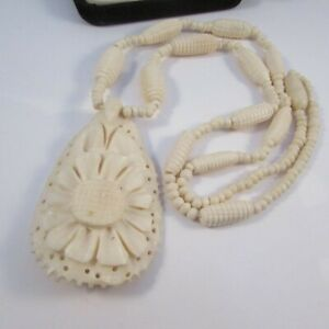 Vintage Ornate Hand Carved Bead and Flower Pendant Necklace