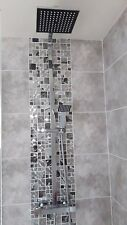 Glass Saturn Mosaic Modular Silver Tiles Chrome Bathroom Kitchen Sheet 30x30 cm