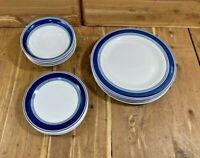 Mainstays Avail Multi Band Blue  ~Swanky Barn~ Dinnerware Set of 4