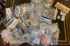 1940's Vintage Cut Paper Dolls and clothes lot