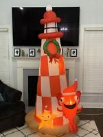 Gemmy Airblow Inflatable Lighthouse With Starfish & Shrimp Christmas Yard Decor