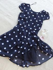 Free Fusion By Target NWT Black POLKA DOT Back Cut Out Women's Mini Dress Size S