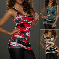 Women Camouflage Summer Vest Top Sleeveless Blouse Casual Vest Tank Tops T-Shirt