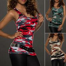 Women's Summer Vest Top Sleeveless Camo Blouse Casual Tank Tops T-Shirt Hot Sale