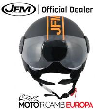 CASCO JET DEMI JET MOTO SCOOTER JFM 400 NERO ARANCIO FLUO CON VISIERA OMOLOGATO