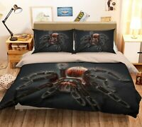 3D Hairy Spider P1357 Animal Bed Pillowcases Quilt Duvet Cover Set Queen Kay