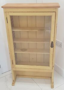 Tall Wooden Spice Cabinet Shabby Chic Painted Yellow