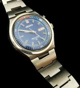 Vintage Working Seiko Blue Dial Bell-Matic 17 Jewels Day Date Alarm Wrist Watch