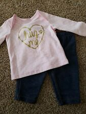 Baby girl Outfit Size 3 Months,  Pink And Gold Shirt, Jean Pants, 3 Month set
