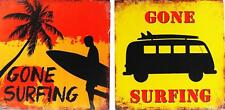 Set Of 2 Surf Design 30 X 30cm Wall Art Pictures - Gone Surfing