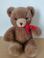 """1983 GUND KARITAS Tender Teddy Bear Brown Red Bow 13"""" Vintage"""