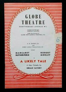 A Likely Tale programme Globe Theatre 1956 Margaret Rutherford Robert Morley