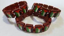 3 Wood Palestinian Flag Elastic Band Bracelet Wristband SUPPORT FREE PALESTINE