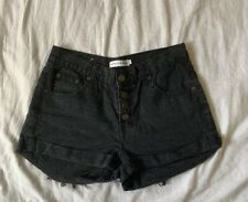 Atmos & Here Black Denim High Waisted Shorts Size 8