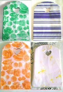 """50 Plastic Floral Print Bags Pouches with Heart Shaped Handle Size 5"""" x 8"""""""