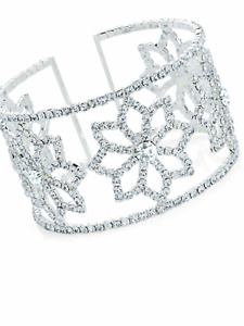 Elegant silver diamanté flower bracelet cuff bangle jewellery gift present