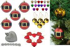 Christmas Xmas Tree Decorations Plain Sparkle Droplet Baubles Round Hearts